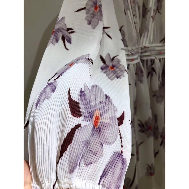Robes Ziwwshaoyu V Corsage Ivoire Plis Orchidée Manches Robe Impression Bouffantes Vacances Plissé Multi Plage Mini Délicats Profonde Lilas cou PrxwfPqZ4