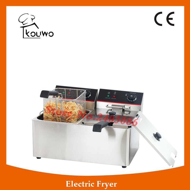 Stainless Steel table counter top food processing machine 8+8L electric double tank chicken potato chips deep Fryer for sale shipule fast food restaurant 30l commercial electric chicken deep fryer commercial potato chips deep fryer frying machine
