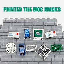 Piezas de ciudad bloques de construcción MOC, teléfono, periódico, ordenador, reloj, bricolaje, figuras, figuras, accesorios, juguetes, amigos