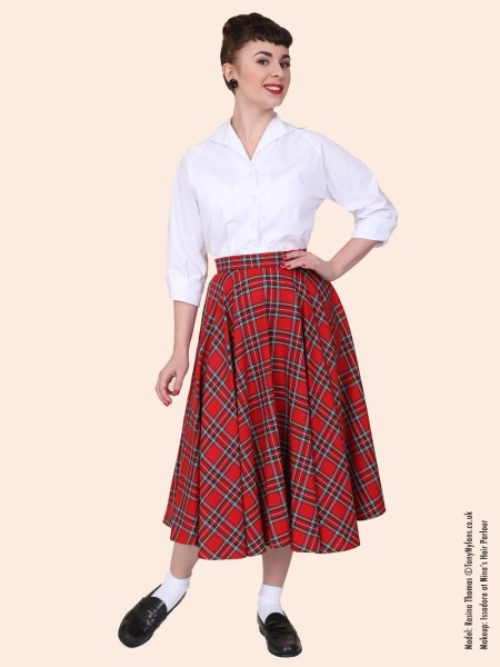 Swing 50 Vintage La 30 Red up Midi S Jupe Pin Faldas Rouge femmes Rockabilly En Jupes Plus Tartan Taille qS8p84