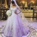Encanto más el tamaño de vestidos de manga larga vestidos del cordón de cola larga de China novia vestidos de novia robe de mariee 2016