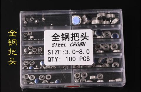 Coroas de Tamanhos 3.0-8.0mm para o Reparo do Relógio Frete Grátis Inoxidável Relógio Diferentes 100 Pcs Aço Mod. 129232