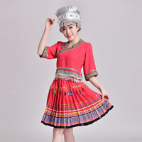 Women Chinese folk dance costume Hmong stage performerce wear Adult Miao clothing Outfit traditional Chinese costume pleat skirt