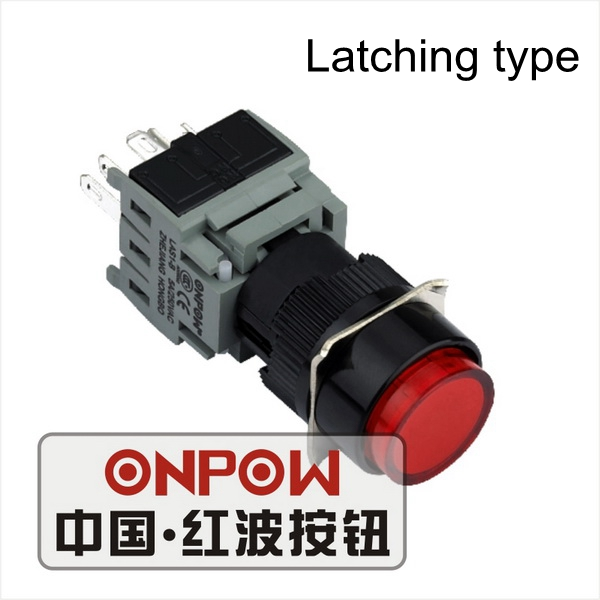 Green 16mm Momentary//Latching Plastic Light Pushbutton Switch 1NO 1NC//2NO 2NC