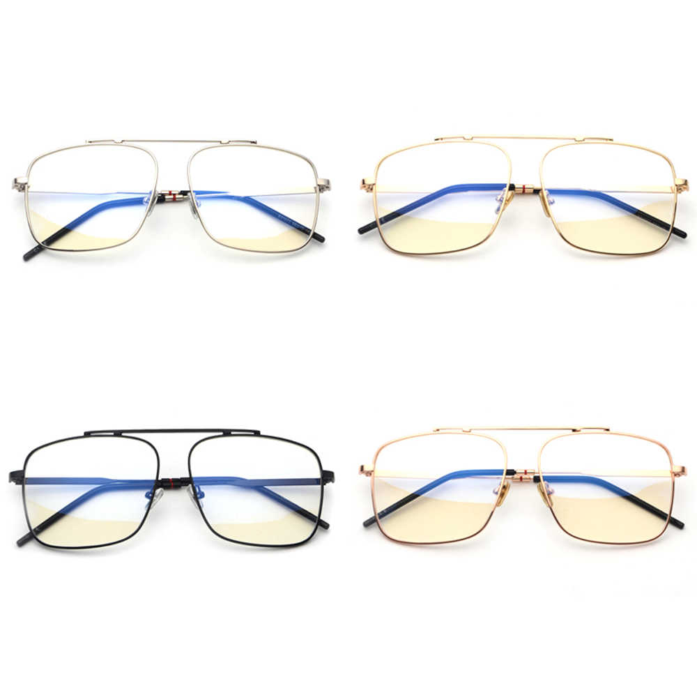 dbf25aae9e8 ... Peekaboo square glasses frame women gold metal 2018 brand designer flat  top big eyeglasses optical frame