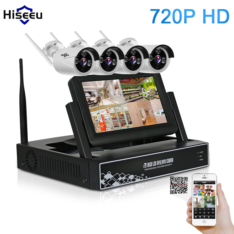bilder für 7 Zoll Displayer 4CH 720 P Drahtlose CCTV System Wireless NVR Ip-kamera IR-CUT Kugel Home Security System CCTV Kit Hiseeu
