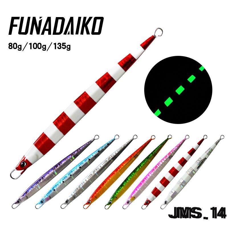 FUNADAIKO chumbo jig jigging isca Luminosa de Metal jig isca artificial iscas de pesca jig isca de velocidade Lenta longo jig 80g100g 135g