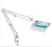 משלוח חינם שולחן העבודה זכוכית מגדלת מנורה עם 2X9 W מקור אור PL 3D (1.75X) רחב זווית זכוכית מגדלת קליפ על עבודת שולחן אור פי