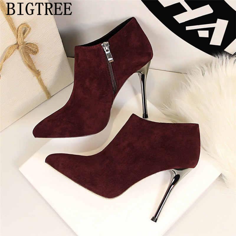 Aşırı yüksek topuklu patik ayakkabı kadın deri çizmeler kadın bigtree ayakkabı seksi çizmeler botas mujer invierno 2019 zapatos de mujer
