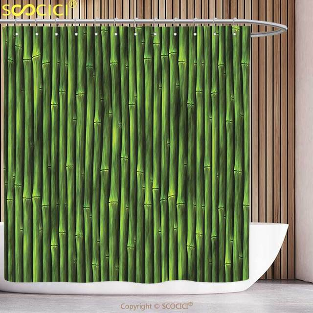 Unique shower curtain bamboo decor bamboo stems pattern Nature inspired shower curtains
