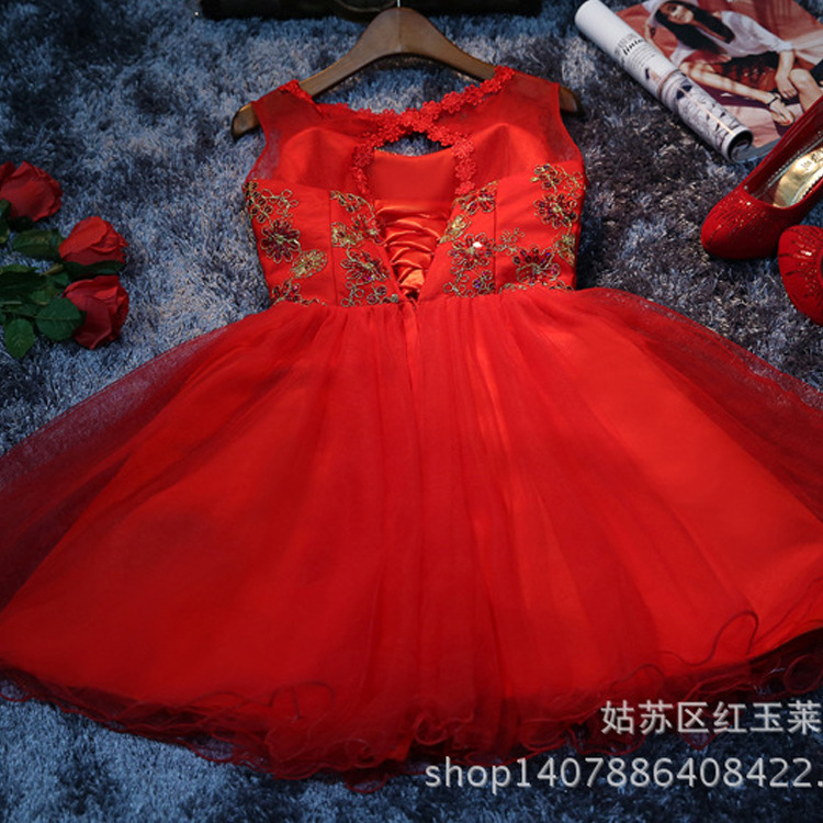 Jersey Short Sleeve Ball Gown Embroidery Lace Special Occasion Women Evening Party Knee Length robe de   Cocktail     Dresses