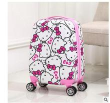 Kid's Travel Trolley Case Cartoon Rolling Bag For Kid School Trolley Bag on wheels little Kids Children's Luggage suitcase Kitty