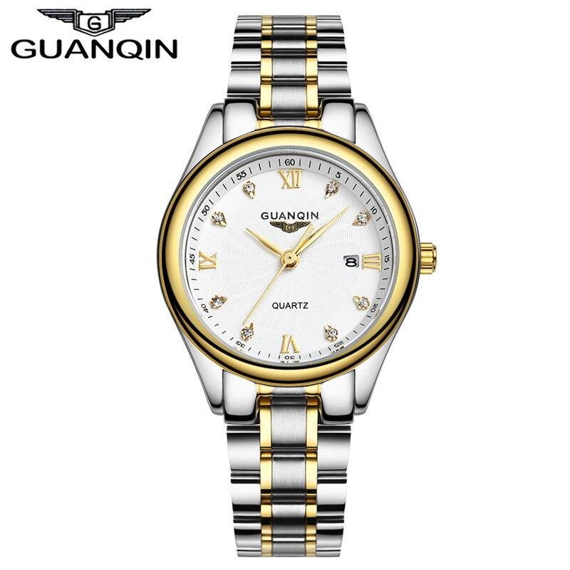 Роскошные часы с бриллиантами Для женщин брендовые Топы GUANQIN полный Сталь Водонепроницаемый часы сапфир дизайнерские часы кварцевые Женск...