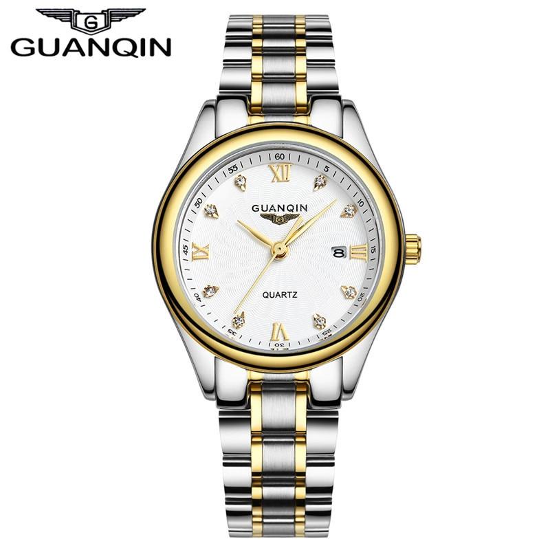 De luxe Diamond Watch Femmes Tops Marque GUANQIN Complet En Acier Étanche Montres Saphir Designer Montres À Quartz Lady Robe Montres