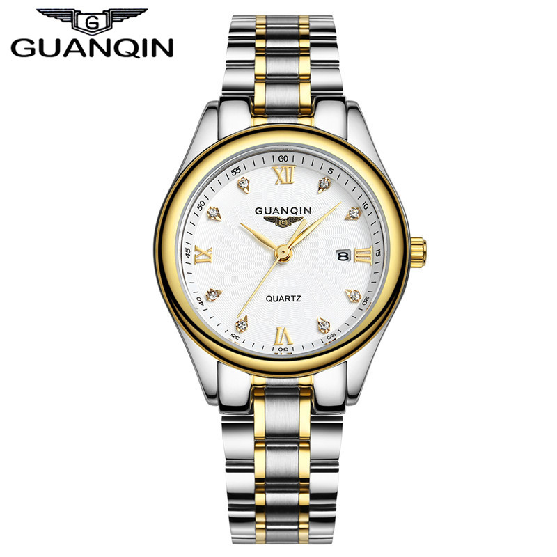Montre de luxe en diamant haut pour femme marque GUANQIN montres étanches en acier montres saphir Designer montres à Quartz dame robe montres
