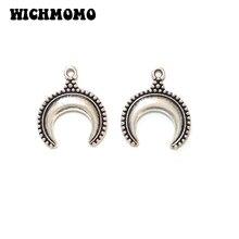 New Fashion 20 Pieces 15*17mm Zinc Alloy Silver Moon Shape Charms Pendants DIY Necklaces Bracelets Jewelry Accessories PJ528