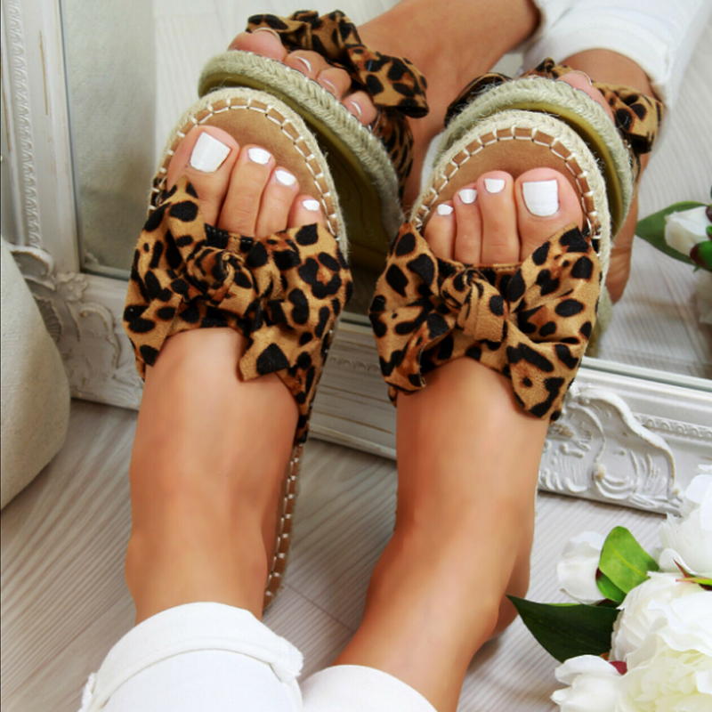 LEOPARD Sexy Summer Sandals Bow Knot Women Slippers Open Toe Ladies Outdoor Beach Flip Flops