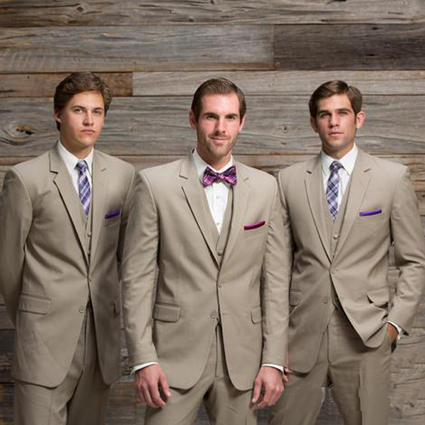 2018 Beige Mens Wedding Suits Tuxedos Notched Lapel Formal Tan Two On Groomsmen Jacket Pants Vest In From Men S Clothing