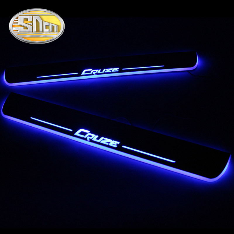 SNCN 4PCS Acrylic Moving LED Welcome Pedal Car Scuff Plate Pedal Door Sill Pathway Light For Chevrolet Cruze 2015 2016 2017 2018