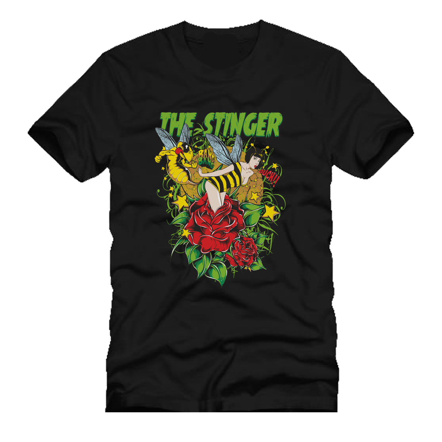 THE STINGER bee ass <font><b>stinging</b></font> hot sexy babe dtg mens <font><b>t</b></font> <font><b>shirt</b></font> teesPrinted Summer Style Tees Male Harajuku Top Fitness Brand image