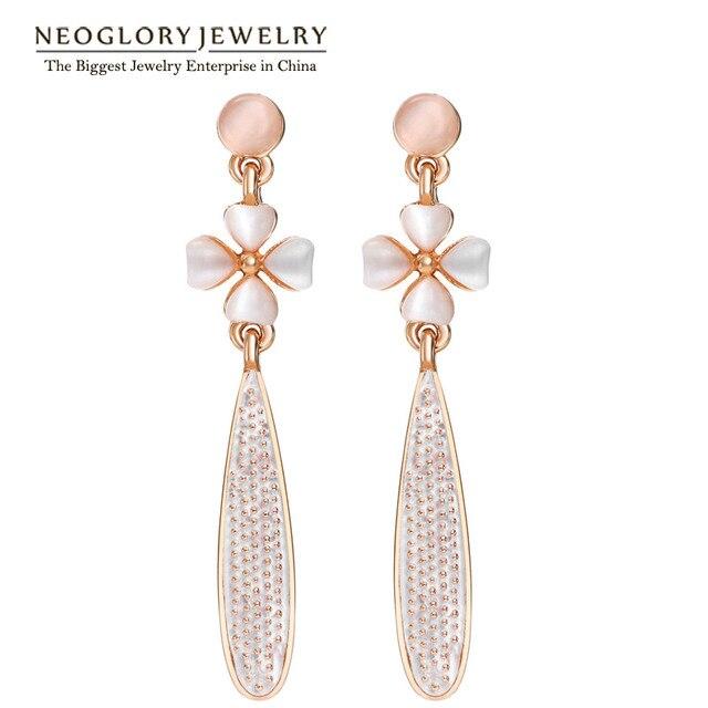 Neoglory Flower Rose Gold Color Long Drop Dangle Chandelier Earrings Women  Fashion Jewelry 2018 Brand New ce763bff9331