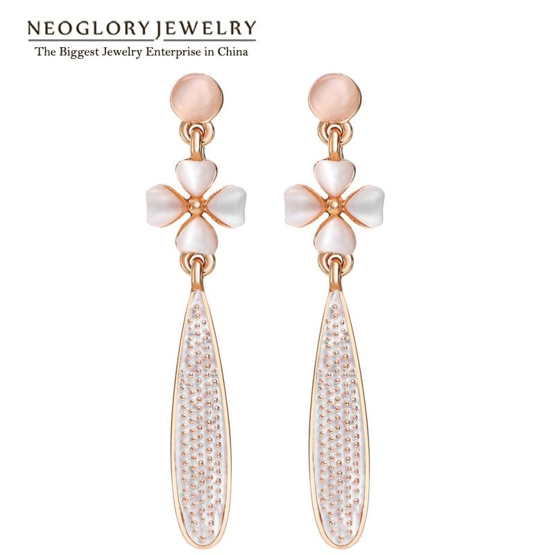Neoglory Flower Rose Gold Color Long Drop Dangle Chandelier Earrings Women Fashion Jewelry  2020 Brand New