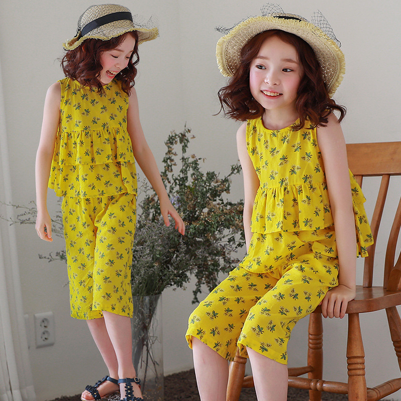 floral big girls summer sets cotton kids outfits baby girls children clothing girl clothes set ruffles tops + knee length pants baby kids baseball season clothes baby girls love baseball clothing girls summer boutique baseball outfits with accessories