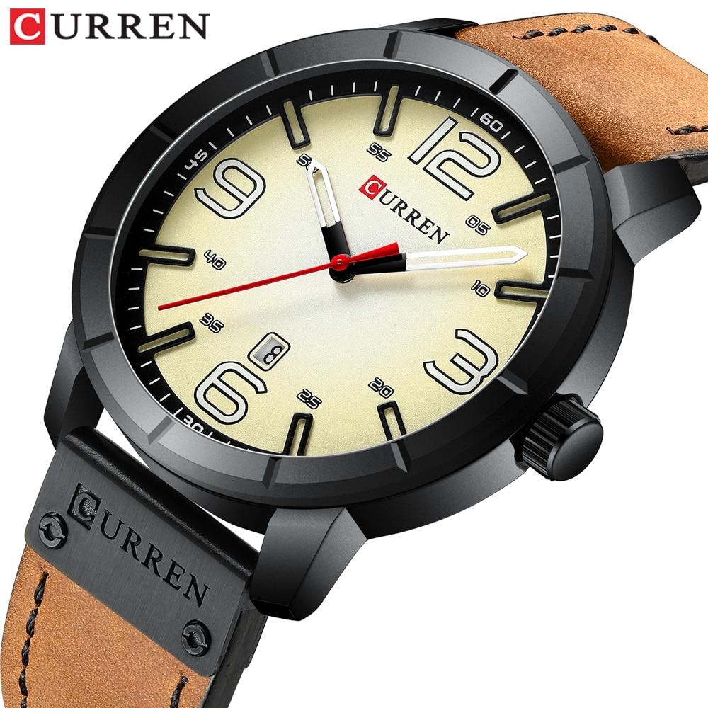 CURREN 2019 Erkek Kol Saati Classic Men Watch Waterproof Hour Leather Analog Military Quartz Wristwatch Male Clock Montre homme analog watch