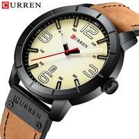 CURREN 2019 Erkek коль Saati классические мужские часы водостойкий час Кожа Аналоговый армейские кварцевые часы мужской часы Montre homme