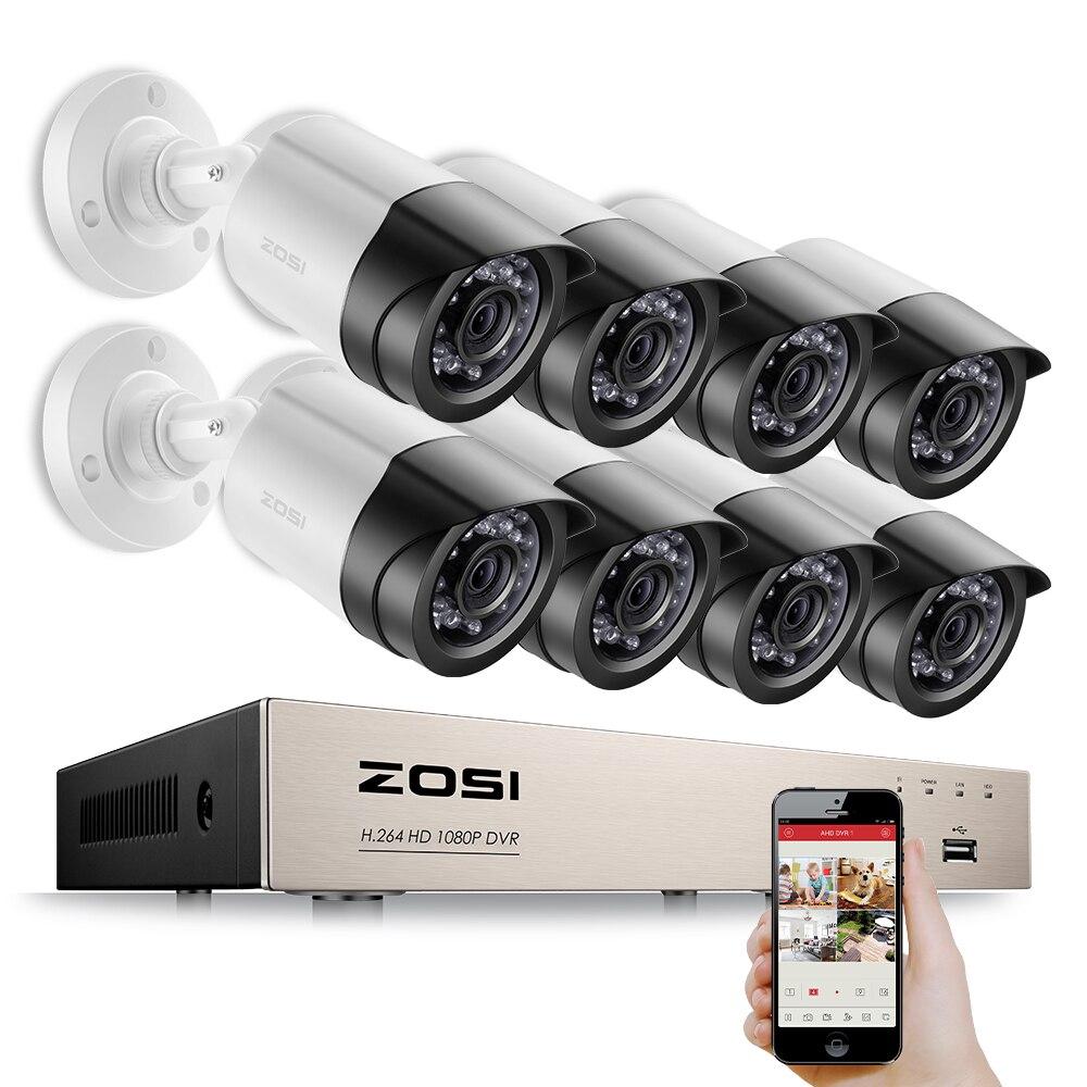 ZOSI HD-TVI 8CH Alerta E-mail Kits de Vigilância 1080 p DVR 8 pcs 2.0MP Visão Nocturna do IR Câmera de Segurança CCTV Vídeo sistema