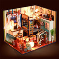 Doll House Miniatura wooden Lighting and Furniture doll house Toys miniatures for decoration Dollhouse Toy For Children Gift