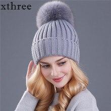 [Xthree] натуральным лисьим мехом помпонами мяч согреться зимняя шапка для женщин девушки шерсть вязаная шапка шапочки cap толстые женский шапка