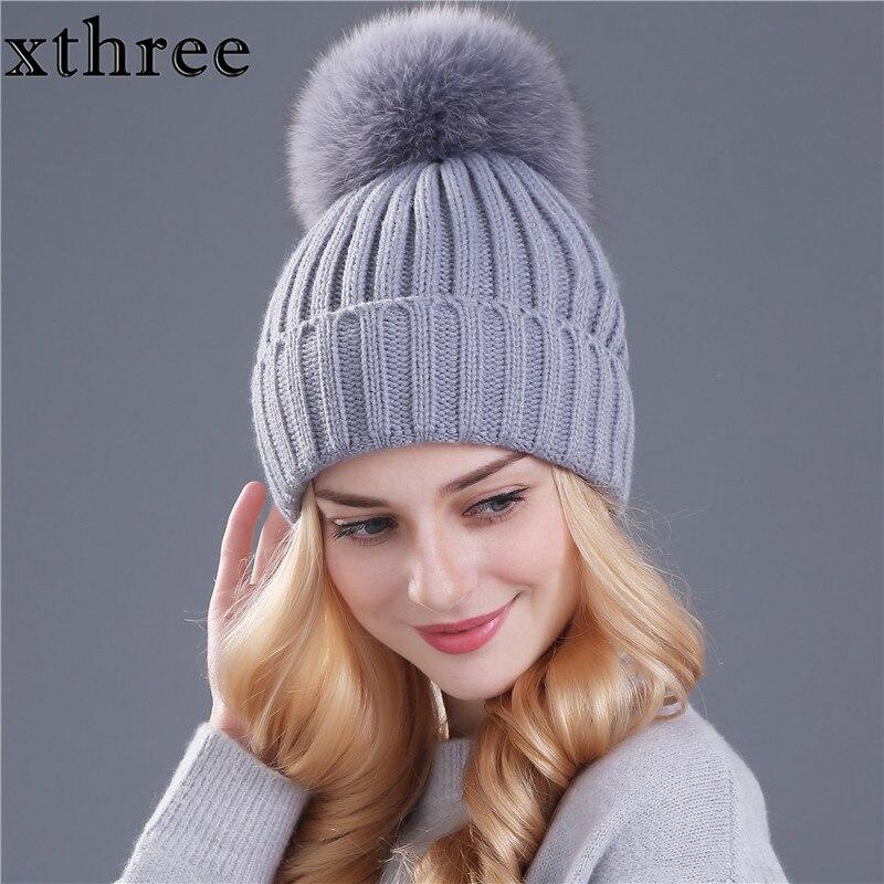 [Xthree] real fox fur pom poms bola mantenga sombrero caliente del invierno para la muchacha de las mujeres de lana de punto gorros casquillo femenino grueso