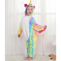 Children Unicorn Pajamas Flannel Cartoon Animal Onesies Hoodie Costume Jumpsuit Pajamas Christmas New Year Gift For