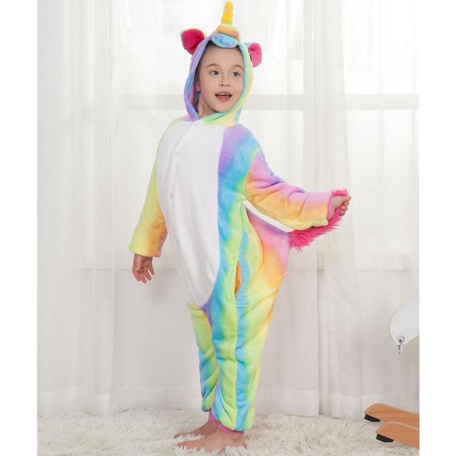 c0edd8dd38 Children Unicorn Pajamas Flannel Cartoon Animal Onesies Hoodie Costume  Jumpsuit Pajamas Christmas New Year Gift For