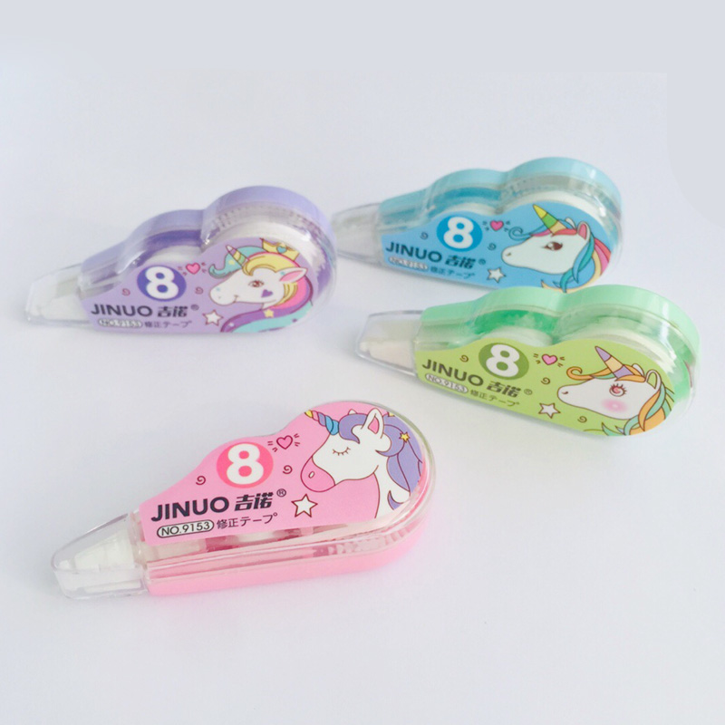 4pcs/ Pack Cute Unicorn Correction Tape Eraser For Writing Student School Office Supply Stationery Gift Set