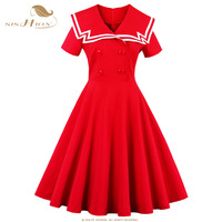 SISHION 1950s Summer Vintage Dress Sailor Collar Knee Length Red Patchwork Pin Up Party Dress Empire