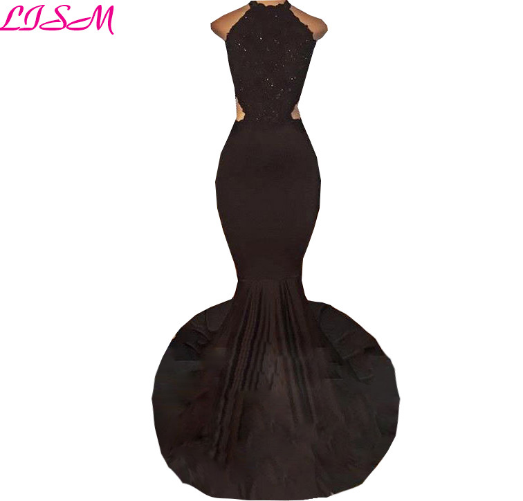 Sexy Mermaid Backless   Prom     Dresses   2019 Black Halter Long Lace Formal Gowns Beaded Appliques Bridesmaid   Dress   vestidos de gala