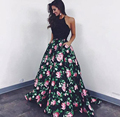 2017 Vestidos de Noite Até O Chão Halter Decote vestido de Baile Impresso Backless Cetim Vestidos de Baile Árabe