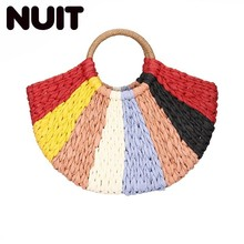 Summer Colorful Luxury Handbags Women Bags Designer Pompon Beach Weaving Ladies Straw Bag Wrapped Moon Shaped