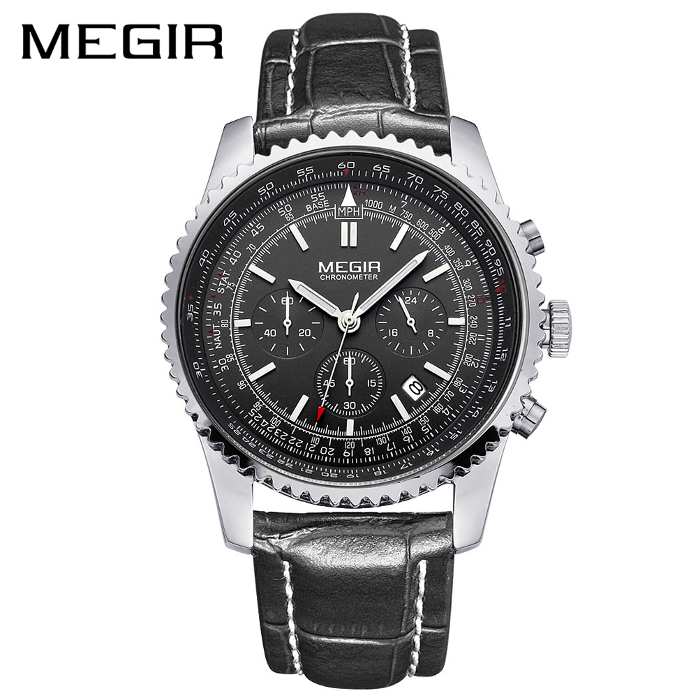 MEGIR Watch Men Fashion Luminous Quartz Men Watch Top Brand Luxury Watches Clock Men Relogio Masculino Erkek Kol Saati Man 2009 megir brand business watch fashion luxury leather men quartz watches military wristwatch clock erkek kol saati relogios 1046