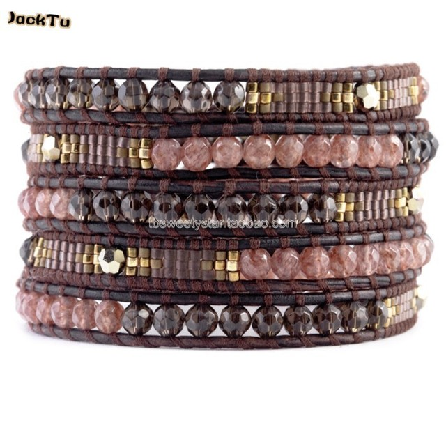 smoky and Strawberry Quartz seed beads leather wrap bracelet gift