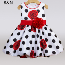 B&N Sleeveless Children Dresses Black Dot Red Bow Floral Dress Baby Infant Summer Party Princes Girls Costumes