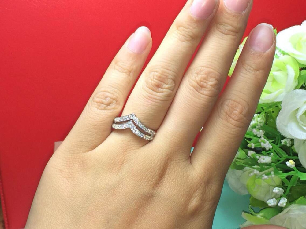 New Design Fabulous Letter Shape Double V Style Female Wedding Band Ring 100 Pure White Gold 18k Last Forever In Rings From Jewelry Accessories On