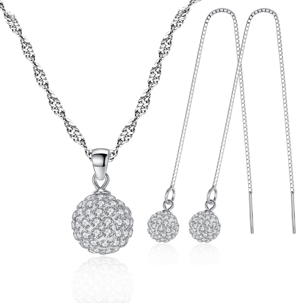 b3455c5f405f 100% Joyería de Plata 925 AAA para Las Mujeres Shamballa Set Collar +  Pendientes de Plata Maciza Envío Libre SS032