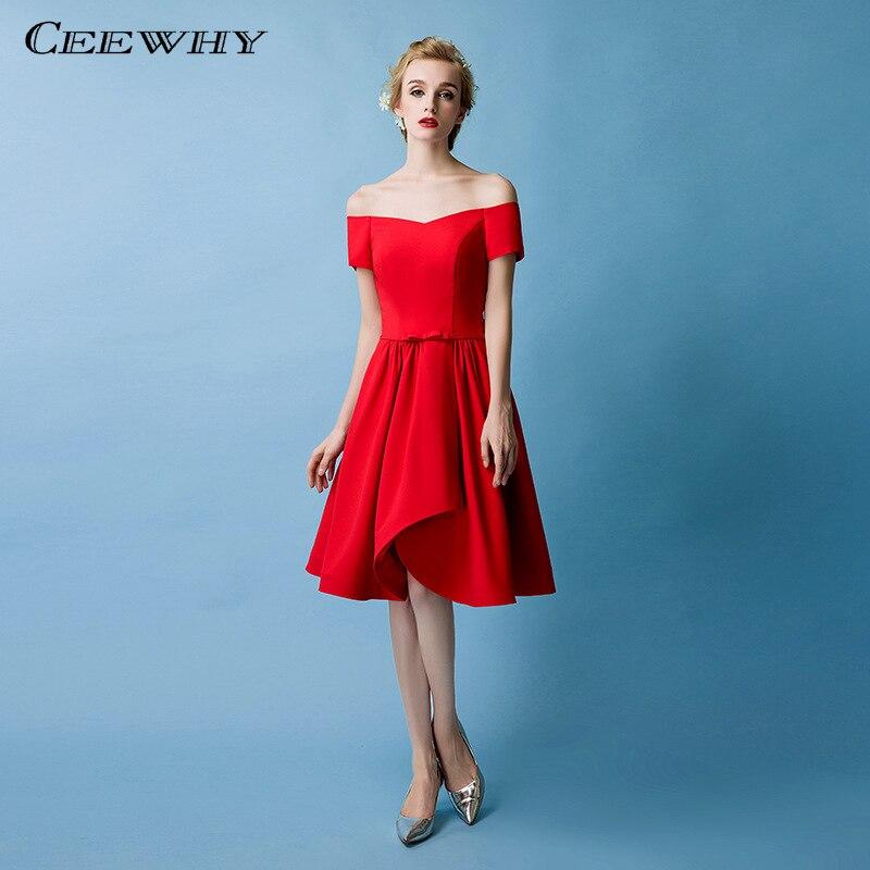 Ceewhy Knee Length Short Cocktail Dresses Red Vestidos De Coctel