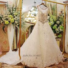 Romantic Luxury Wedding Dresses Rhinestones Crystals Ball Gown Lace Bridal  Gowns Court Train Custom Made Sequin Vestidos de Boda 03500c69fef2