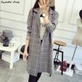 2016 новый горячий продажа женская осень зима длинные участки повседневная Кардиганы пальто женщина решетки вязать свитера пальто 4 цвета