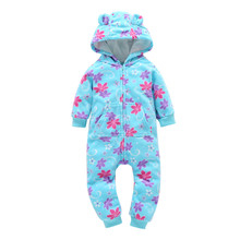 0-24m newbron baby girls cute floral pattern one-piece rompers 2017 christmas winter autumn warm zipper Hooded jumpsuit clothes