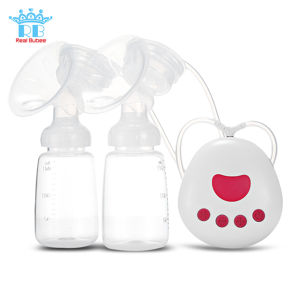 Real Bubee 2 In 1 Double/Single Electric Breast Pump USB Silicone 18 Levels Baby Breast Pumps With 150ml Baby Feeding Bottle